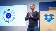 Drew Houston, der Gründer und Vorstandsvorsitzende des amerikanischen Cloudspeicheranbieters Dropbox, bei einer Konferenz in San Francisco.