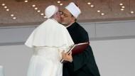 Abu Dhabi: Papst Franziskus und Scheich Ahmed al-Tajjib, Großimam der Al-Azhar-Universität in Kairo