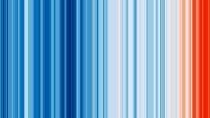 Der Planet glüht – und er glüht im großen Stil. Die farbcodierten Streifen zeigen die Erderwärmung bis heute, angefangen im Jahr 1850.