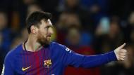 Daumen hoch bei Messi: Die europäischen Topverdiener spielen beim FC Barcelona.