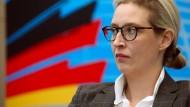 Die Vorsitzende der AfD-Bundestagsfraktion Alice Weidel wartet am Montag auf den Beginn einer Gremiensitzung in den Fraktionsräumen der Partei in Berlin.
