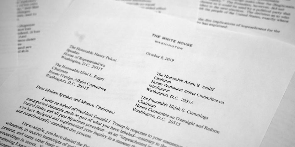 Das Schreiben von Pat Cipollone, dem Rechtsberater des Weißen Hauses