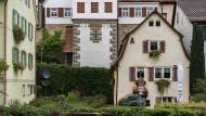 Fachwerkhäuser in Bietigheim-Bissingen, an der Metter (Fluss).