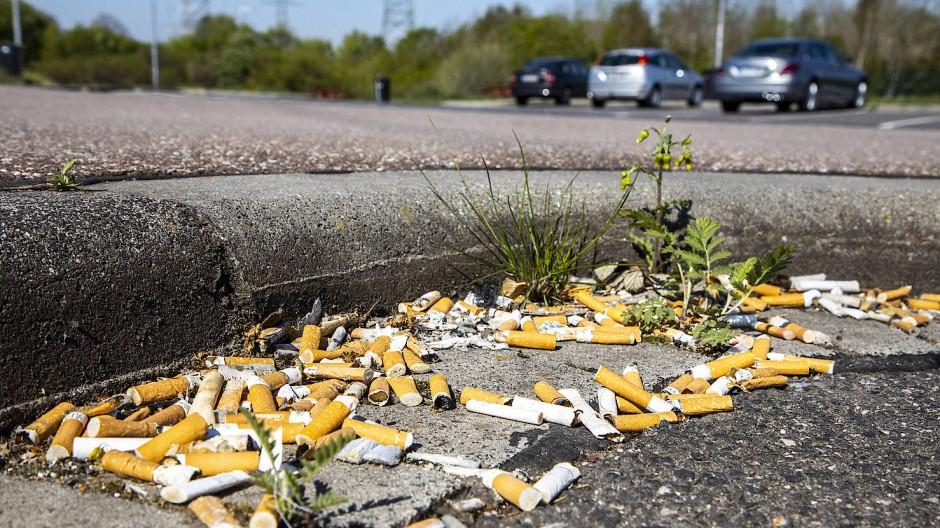 Das Geld liegt auf der Straße: Bei 20 Cent Pfand pro Zigarette käme an diesem Parkplatz einiges zusammen.