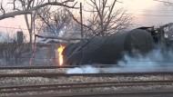 Güterzug entgleist und explodiert