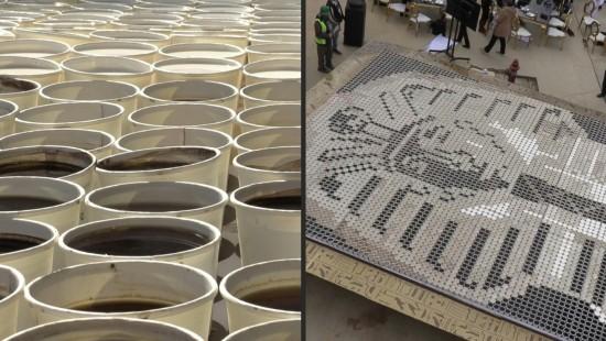 Riesiges Tutanchamun-Mosaik aus Kaffee