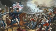"""""""Der Herzog von Wellington in der Schlacht bei Waterloo"""" – eine Tuschätzung von William Heath und Joseph Constantine Stadler aus """"The Wars of Wellington""""."""