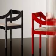 Mit einer Sitzfläche aus geflochtenem Bast: Der Esszimmerstuhl Carimate