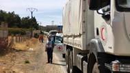 Lastwagen des Internationalen Roten Kreuzes mit Medikamenten auf dem Weg Richtung Madaja