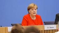 Angela Merkel auf der Bundespressekonferenz
