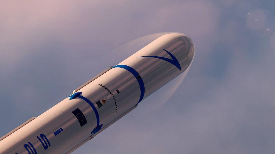 """Das computergenerierte Bild zeigt eine """"Spectrum""""-Rakete des Raketenbauers Isar Aerospace."""