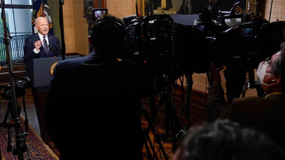 Joe Biden am Mittwoch bei einer Fernsehansprache im Weißen Haus.