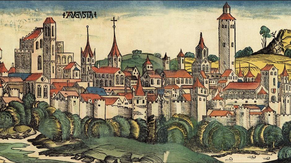 Stadtansicht der freien Stadt Augsburg im 15. Jahrhundert (Holzschnitt): Von hier aus führte Jakob Fugger sein Handelsimperium, das bald weite Teile Europas umfasste.
