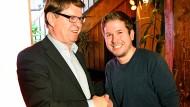 Der stellvertretende SPD-Parteichef Ralf Stegner und Juso-Chef Kevin Kühnert beim Neujahrsempfang der SPD