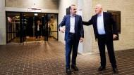 Manfred Weber und Frans Timmermans vor einer Fernsehdebatte zur Europawahl am 20. Mai 2019