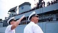 """Die Fregatte """"Hessen"""" bei ihrer Rückkehr nach Wilhelmshaven im Juli 2018. Die deutsche Marine verfügt aktuell noch über 46 Einheiten."""
