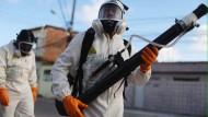 Feldzug gegen die ägyptische Tigermücke: Ein Zwei-Mann-Team der Gesundheitsbehörde sprüht Insektizide in Recife im brasilianischen Bundesstaat Pernambuco.