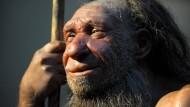 In dieser Nachbildung des Neanderthal-Museums in Mettmann schaut der Neandertaler recht zufrieden - fast erstaunlich angesichts seiner unausgewogenen Ernährung.
