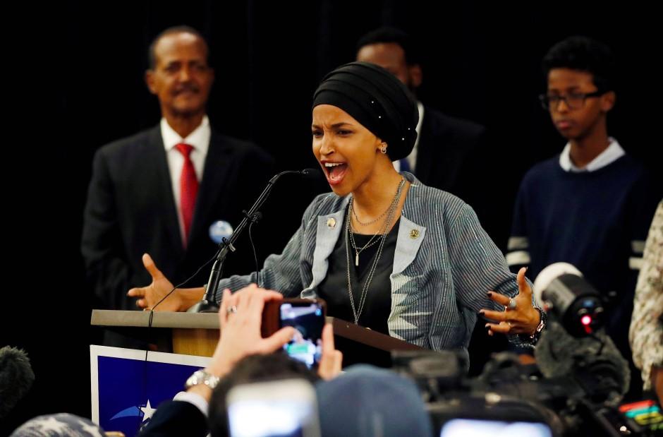 Die Demokratin Ilhan Omar bei der Wahlparty in Minneapolis