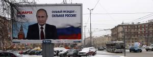 Ein Wahlplakat in St. Petersburg, das den russischen Präsidenten Putin zeigt. Auf dem Plakat steht: «Starker Präsident - Starkes Russland».