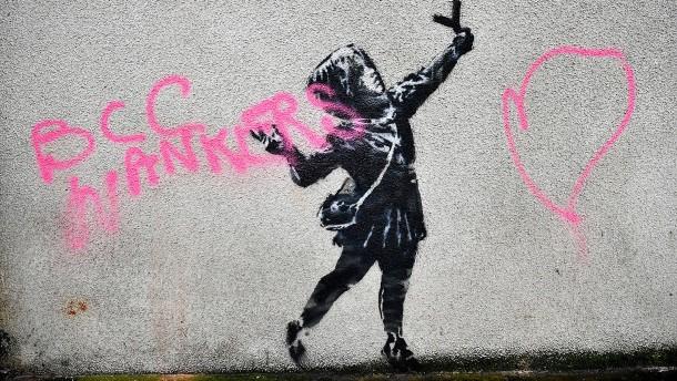 Neues Kunstwerk von Banksy beschädigt