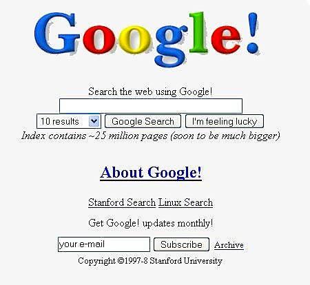 So sah Google im Jahr 1998 aus.