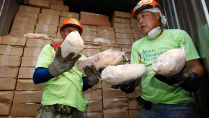 Port workers show reporters some of the smuggled frozen Peking ducks seized by customs officials in Manila
