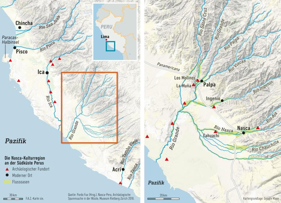 Der Süden Perus ist klimatisch ein Wüstengebiet. Landwirtschaft ist nur in den - meist engen - Flusstälern möglich.