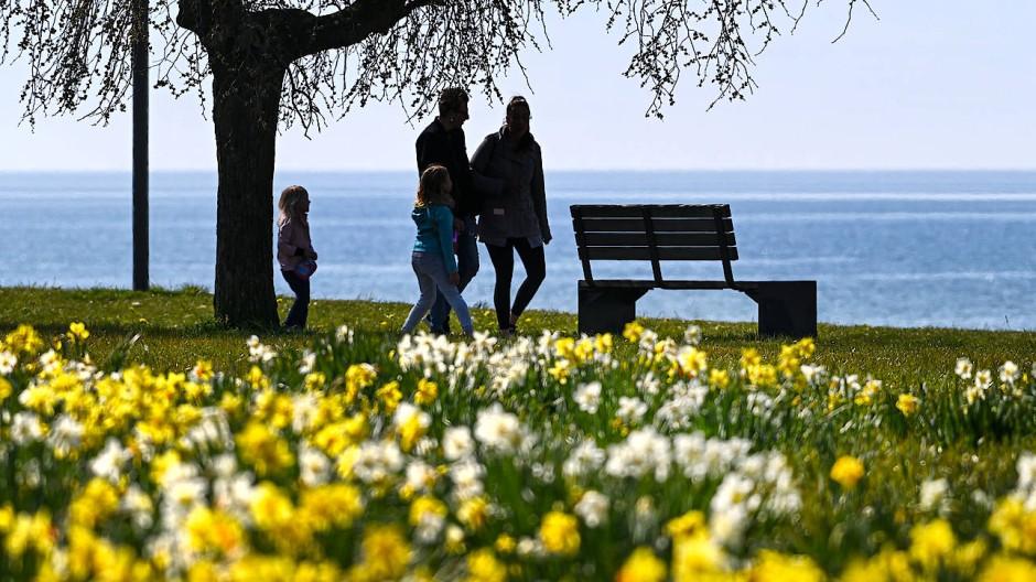 Endlich wieder raus! Eine Familie genießt das gute Wetter am Ufer des Bodensees.