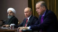 Die Präsidenten Ruhani, Putin und Erdogan bei ihrem Treffen zur Zukunft Syriens.