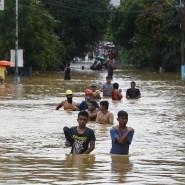 Heftige Überschwemmungen gab es nach dem Taifun Vamco auch in der philippinischen Hauptstadt Manila.