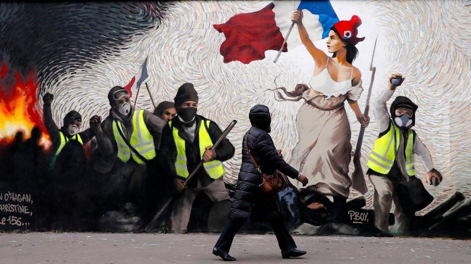 """""""Gelbwesten"""" als Graffiti-Motiv"""