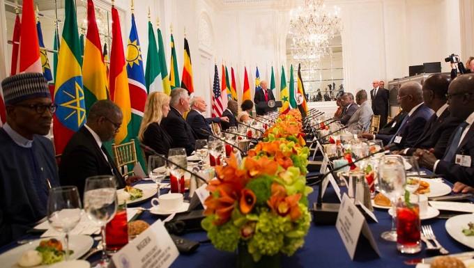 Donald Trump spricht im September 2017 bei einem Mittagessen vor Vertretern afrikanischer Länder im Rahmen eines Treffen der Vereinten Nationen