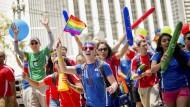 Angestellte von Google und Youtube beim Gay Pride Festival in San Francisco, Juni 2014