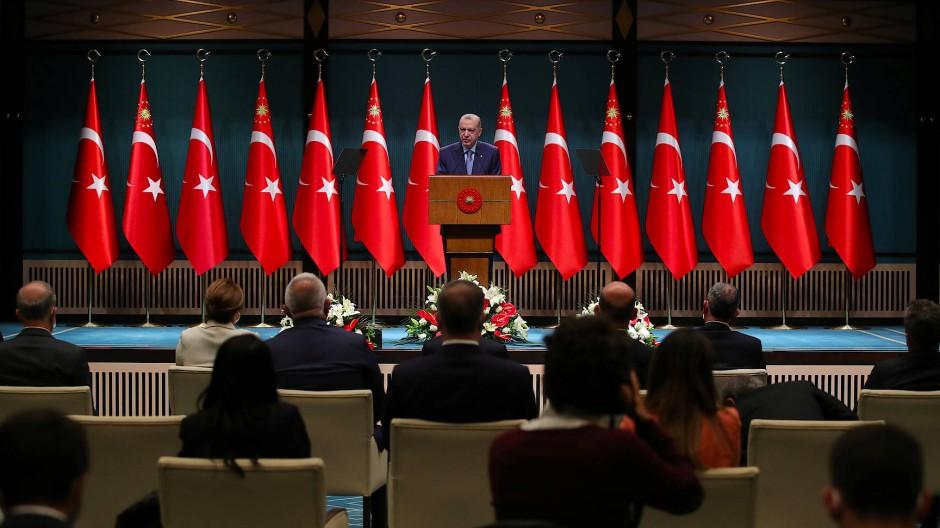 Der türkische Präsident Erdogan Tayyip Erdogan am Montag in Ankara
