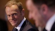 Donald Tusk am Mittwoch bei einer Pressekonferenz mit dem luxemburgischen Regierungschef Xavier Bettel