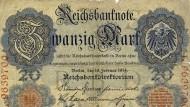 Eine Zwanzig-Mark-Note der Reichsbank aus dem Jahr 1914. Die neue Umsatzsteuer spülte neues Geld in die Kasse des Schatzamts.