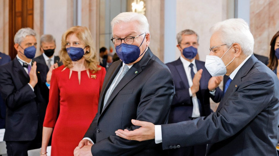 Steinmeiers Alltag: Mit Italiens Präsident Mattarella am Dienstag in Berlin.