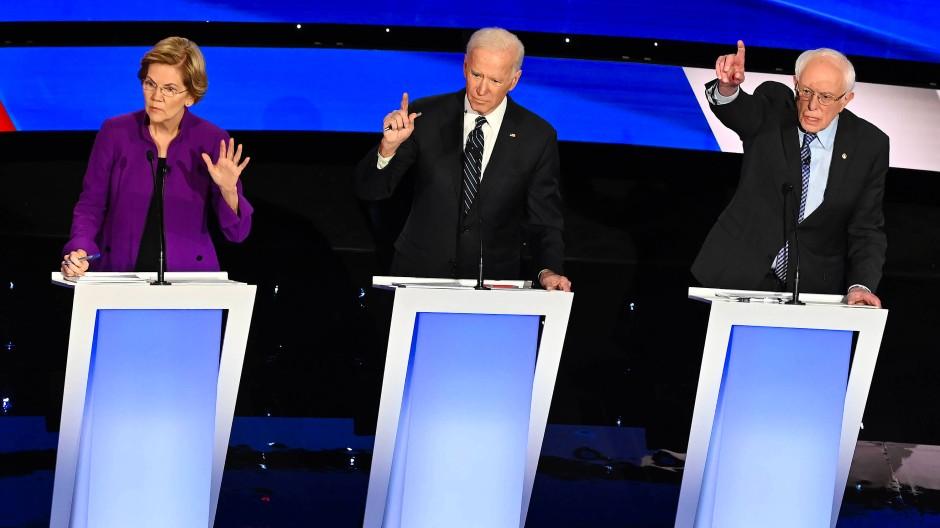 Elizabeth Warren, Joe Biden und Bernie Sanders sind die Favoriten im Rennen um die Präsidentschaftskandidatur der Demokraten.