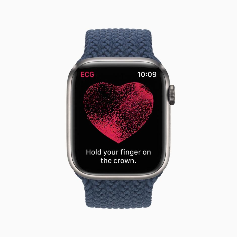 Was fürs Herz: Wie die Vorgängerin schreibt auch die Series 7 ein Einkanal-EKG, mit dem sich Vorhofflimmern zuverlässig erkennen lässt.