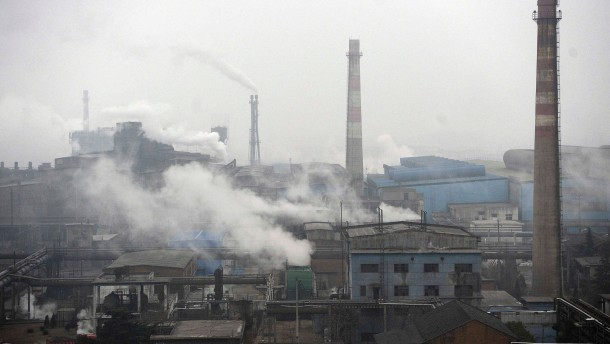 Smoke billows from a coking factory in Hefei, Anhui province