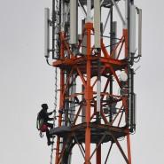 Arbeit am Mobilfunknetz.