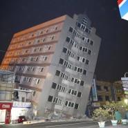 Ein während des Erdbebens zerstörtes Haus in Tainan