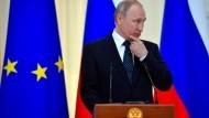 """Russischer Präsident Putin: Nach Einschätzung der EU hat vor der Europawahl keine """"massive, besonders hervorstechende Kampagne wie bei der amerikanischen Präsidentenwahl 2016"""" stattgefunden"""