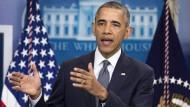 Der amerikanische Präsident Obama während einer Pressekonferenz Anfang Mai