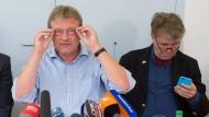 Jörg Meuthen (l.) und Heinrich Fiechtner am Dienstag nach ihrem Austritt aus der AfD-Fraktion