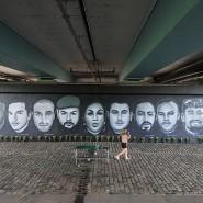 Erinnerung an die Opfer von Hanau: Ein Künstlerkollektiv schuf das Graffiti unter der Frankfurter Friedensbrücke