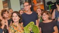 Die Grünen-Bundesvorsitzende Annalena Baerbock mit den Brandenburger Spitzenkandidaten Benjamin Raschke und Ursula Nonnenmacher