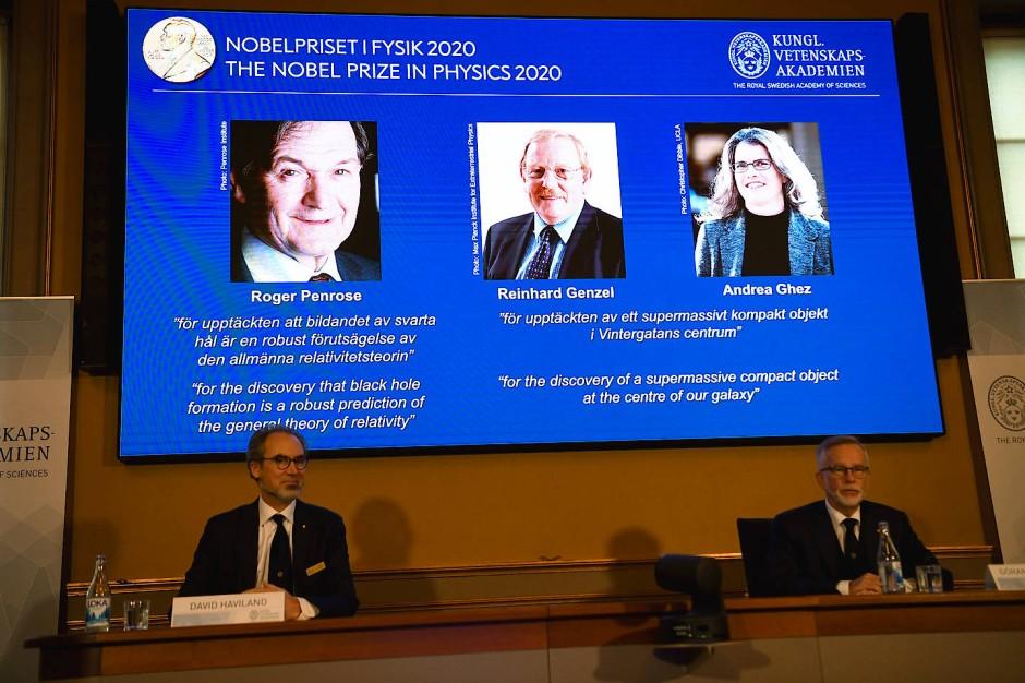 Die Preisträger: Roger Penrose (Großbritannien), Reinhard Genzel (Garching bei München) und Andrea Ghez (USA)
