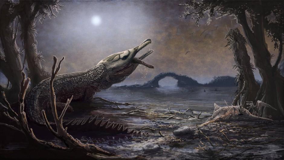So haben Forscher das Meereskrokodil Lemmysuchus obtusidens rekonstruiert.